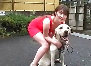 Japanese chick teasing her sexy dog