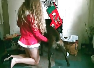 Blonde gets it from a humungous hound
