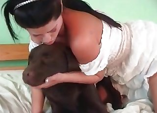 Handsome doggo is providing some oral sheer pleasure to a woman