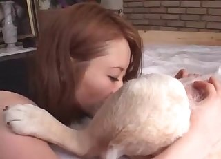 Dirty dog enjoying that redhead's slit